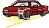 clip art illustration of a red car clipart