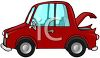 clip art image of a red economy car with the trunk lid open clipart