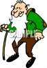 Image Of a bald man walking with a cane in a vector Clipart Illustration clipart