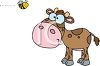 Picture Of a young cow standing and watching a bee fly above his head In a vector clip art illustration clipart