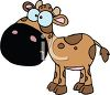 picture of a brown cow with dark brown spots In a vector clip art illustration clipart