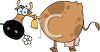 picture of a fat brown cow with a bell around her neck chewing on a flower clipart