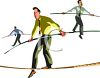 People, man walking on tight ropes, taking risks clipart