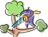 Foolish person about to cut off a tree branch on which they are standing clipart