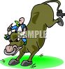 Clip Art Illustration of man riding an angry bull kicking up his back legs. The man is hanging onto the bull horns clipart