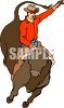 Clip Art Illustration Of A Cowboy Riding A bull  clipart