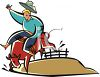 Cartoon Of a cowboy riding a bull in a vector clip art illustration clipart