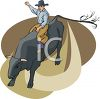 clip art illustration of a cowboy riding a bull in a rodeo clipart