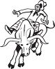 black and white illustration of a cowboy riding a bull with no hands clipart