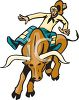 Clip art image of a cowboy riding a bull with no hands. His hat is flying off clipart