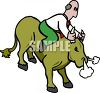 clip art image of a bald man on a wild bull holding on tight to his horns. The bull is snorting clipart