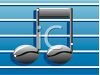 Clip art illustration of music notes on a staff on a blue background clipart