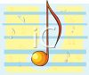 clip art illustration of an orange musical note on a blue and yellow background clipart