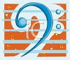 Clip Art illustration of a blue bass clef and staff on an orange background clipart