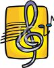 Clip Art illustration of a purple treble clef and music notes on a yellow background clipart