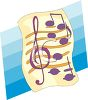 image of sheet music with a treble clef and music notes on a blue background in a vector clipart illustration clipart