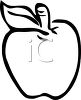 Clip art illustration of an outline of an apple clipart
