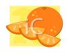 clip art illustration of a whole orange, with orange slices clipart