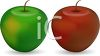 clip art illustration of a red and green apple clipart