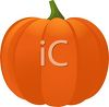 clip art illustration of a bright orange pumpkin with green stem clipart
