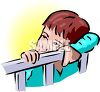 clip art image of a boy standing up in his crib  clipart