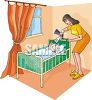 clip art illustration of a mother giving her sick child medicine in bed clipart