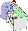 clip art illustration of a mother tending to her baby in the nightime clipart