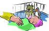Clip Art illustration Of A Baby sleeping In His Crib clipart