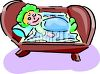 Clip Art Illustration Of A Happy Baby Laying in her crib clipart