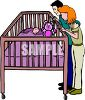 clip art illustration of Parents admiring their sleeping baby in his crib clipart