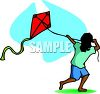 clip art illustration of an ethic child flying a red kite clipart