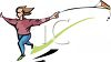 clip art illustration of a girl running and flying her kite clipart