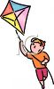 clip art illustration of a boy flying his kite clipart