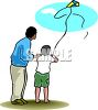 clip art illustration of an african american man and his son flying a kite clipart