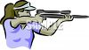 clip art image of a woman shooting a rifle  clipart