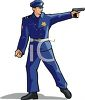 clip art illustration of a policeman shooting a hand gun clipart
