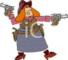 clip art illustration of a woman holding two pistols. She is wearing a holster clipart