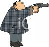 clip art image of a man shooting a pistol clipart