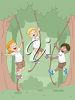 Clip Art Illustration of children camping and swinging on ropes in the trees clipart