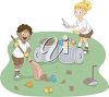 Clip Art illustration of children cleaning up a campsite clipart
