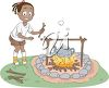 clip art illustration of a young girl adding firewood to the campfire clipart