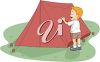 clip art image of a boy setting up his tent at the campsite clipart