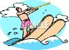 clip art illustration of a man water skiing on a lake under cloudy skies clipart