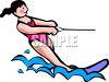 clip art illustration of a young girl slalom skiing on a lake clipart