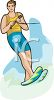 clip art illustration of a man water skiing on a lake clipart