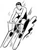 black and white clip art of a man water skiing on a lake clipart