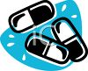 Picture Of prescription capsules on a blue background in a vector clip art illustration clipart