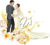 clip art illustration of a newlywed couple embracing each other on their wedding day clipart