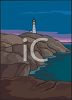 Clip Art Illustration Of a lighthouse on top of a hill on the ocean clipart
