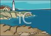 clip art illustration of a lighthouse and a home on the edge of the ocean clipart